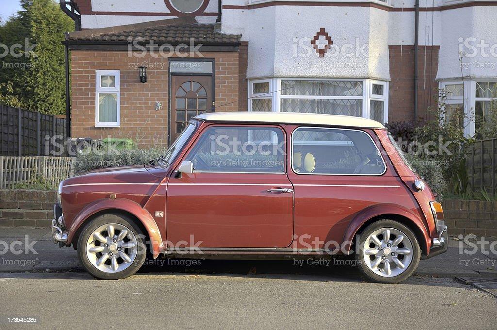 British Scene-Typical English Suburb with Mini Cooper stock photo