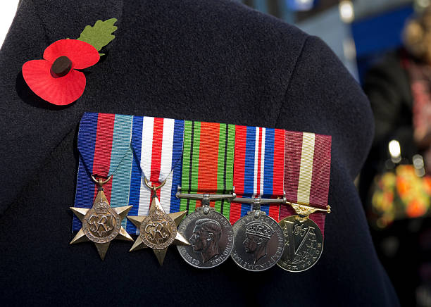british second world war veteran's medals - uk military stock photos and pictures