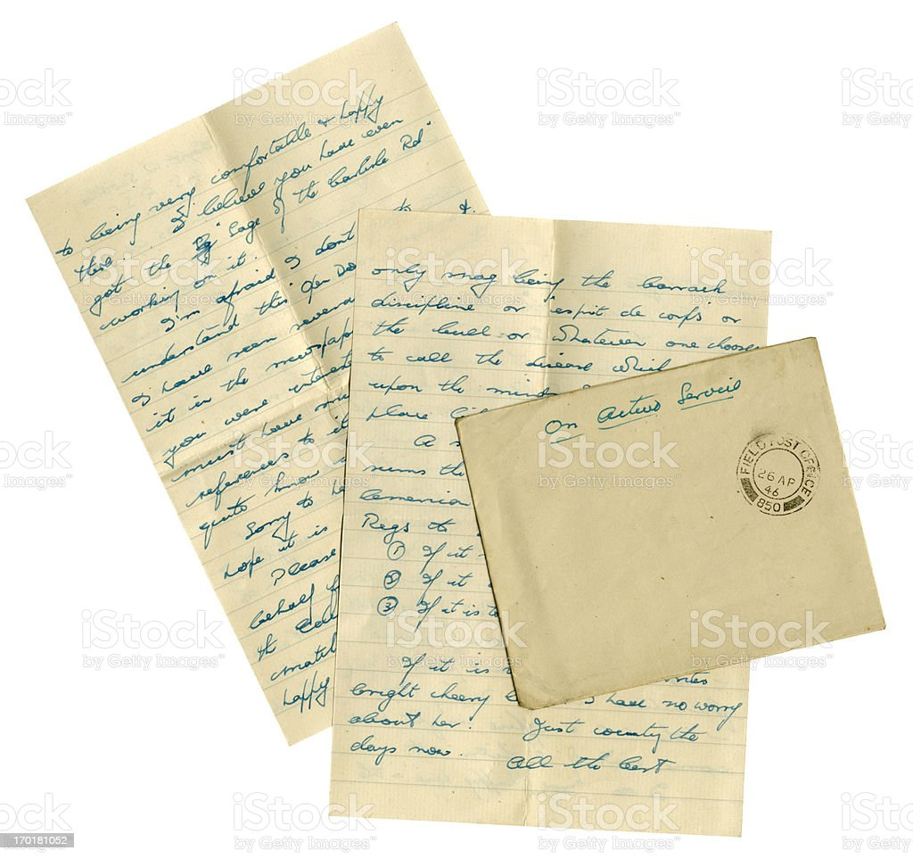 British serviceman's letter from Germany, 1946 stock photo