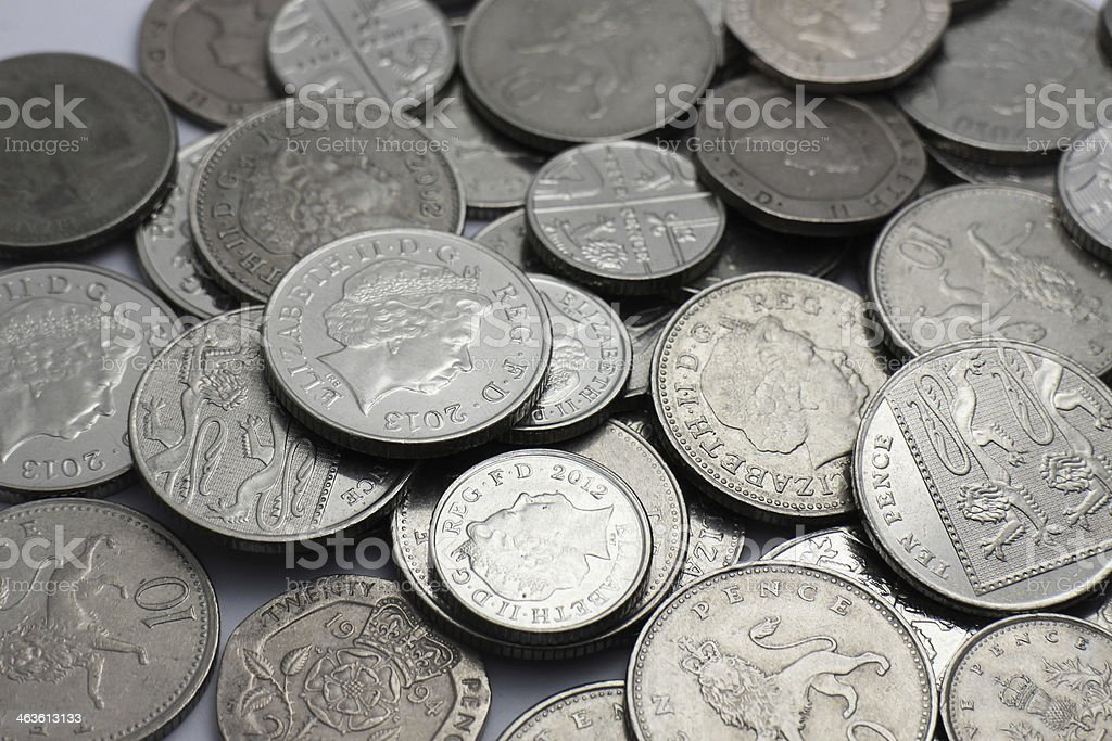 British silver coins stock photo