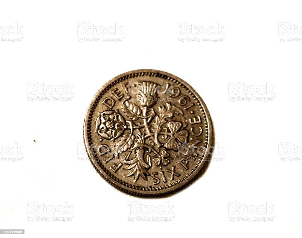 British six pence 1961  coin  money close up stock photo