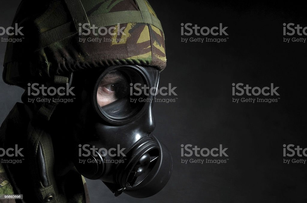 British Soldier with Respirator royalty-free stock photo
