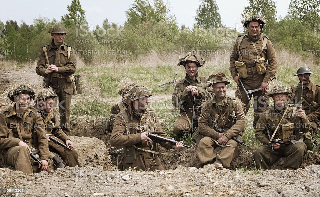 British soldiers having rest in a trench stock photo