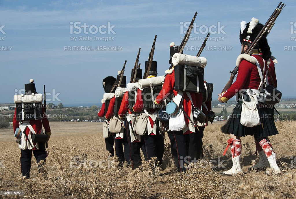 British soldiers in uniforms of 19th century stock photo