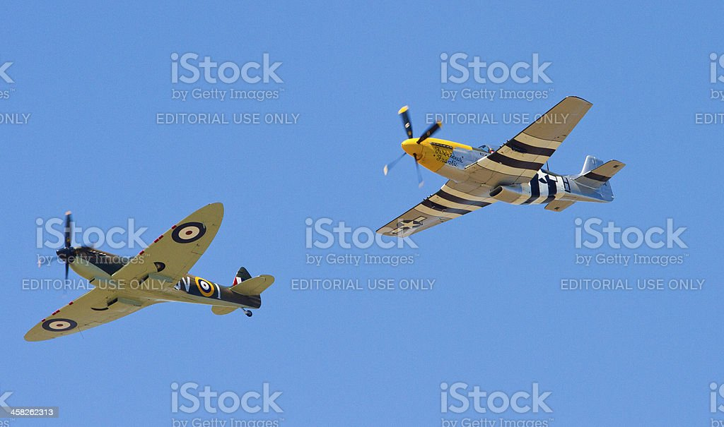 British Spitfire and US Mustang fighter bomber royalty-free stock photo