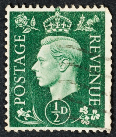 British stamp isolated on black