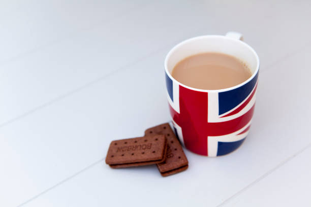 British tea and biscuits stock photo