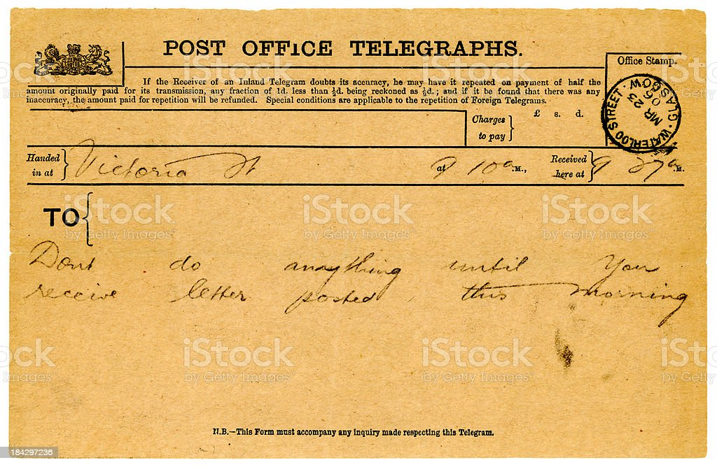 British telegram from 1906 stock photo