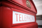 Detail of a telephone booth in London.