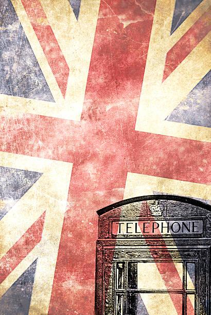 British telephone box with UK flag stock photo