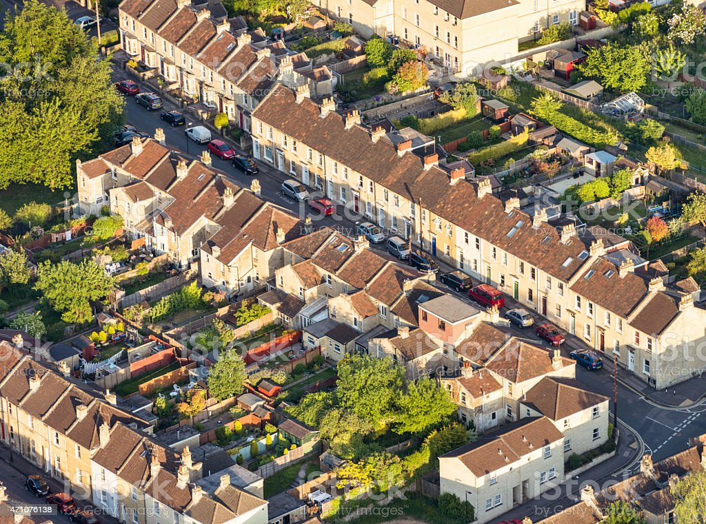 British terraced houses and gardens - Aerial view stock photo
