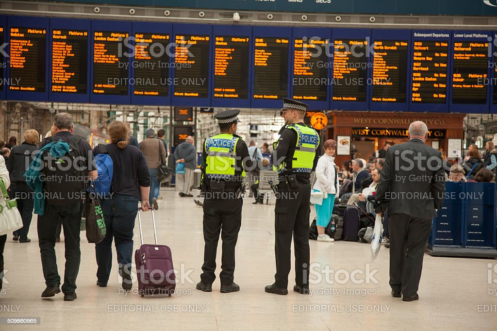 British Transport Police PCSOs at Glasgow Central Station stock photo
