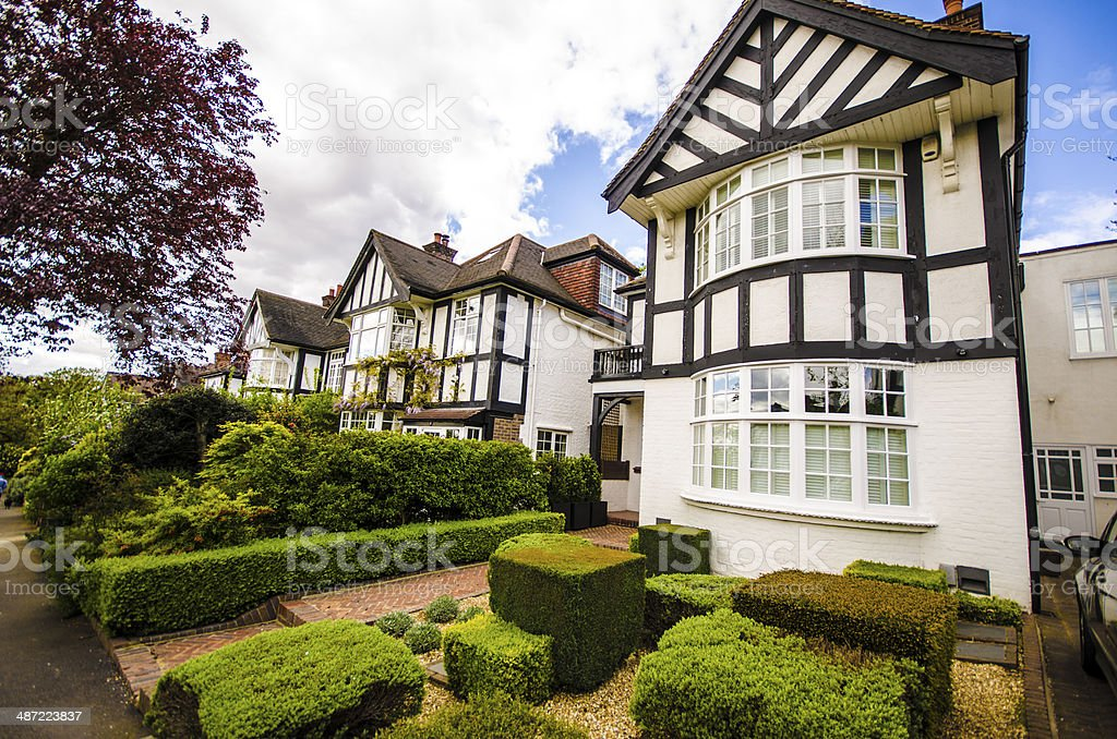 British Tudor houses in London stock photo
