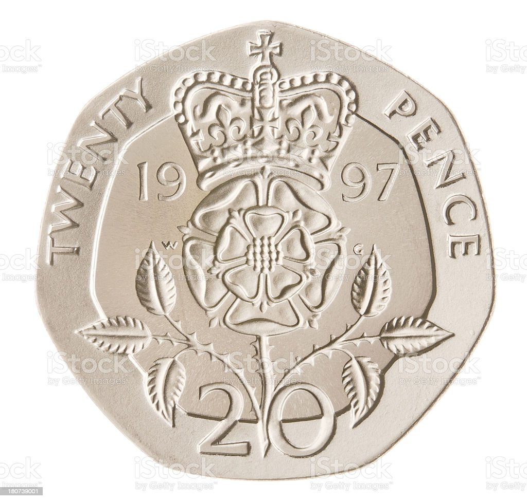 British Twenty Pence Coin (with Clipping Path) royalty-free stock photo