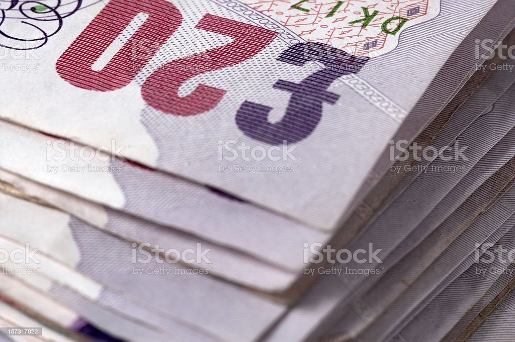 British twenty pound notes close-up royalty-free stock photo