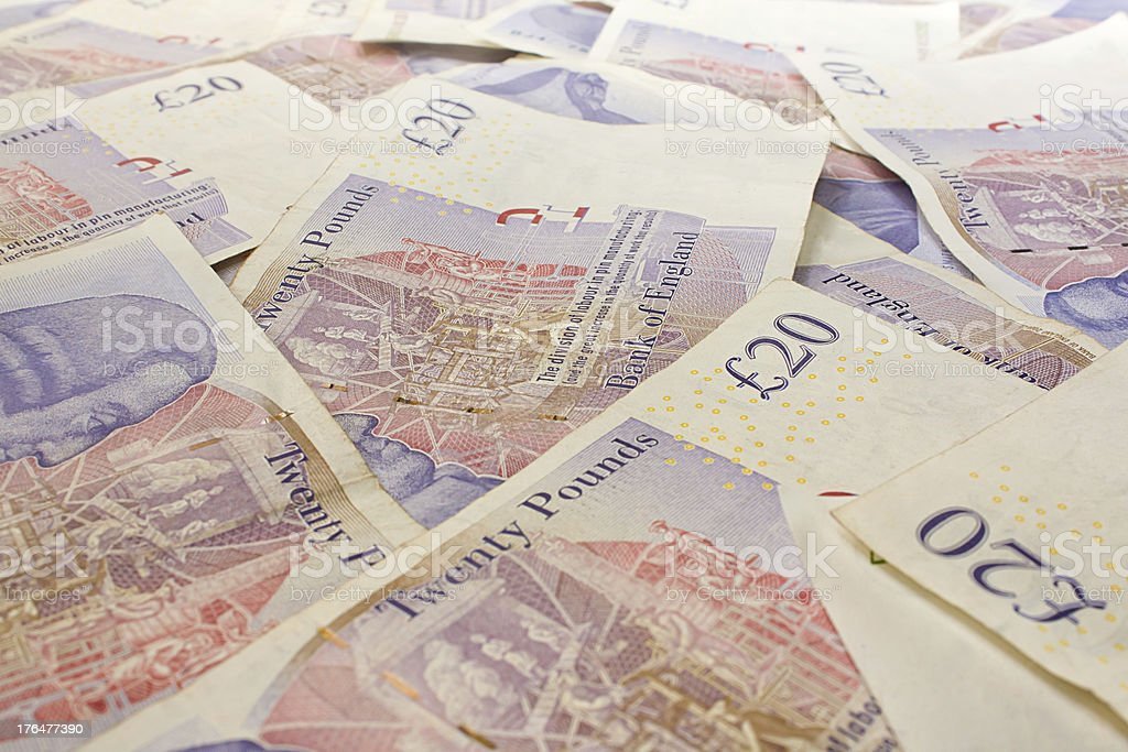 British Twenty pound notes stock photo
