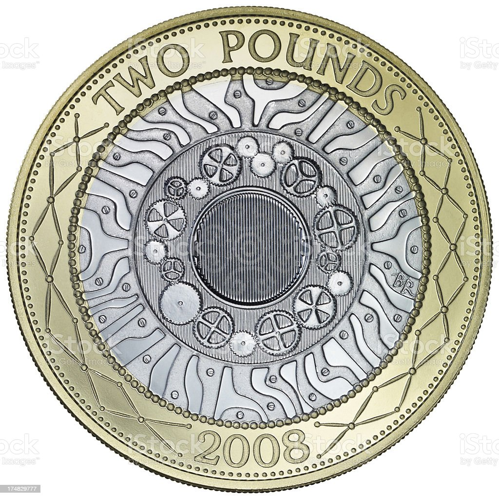 British Two Pound Coin stock photo