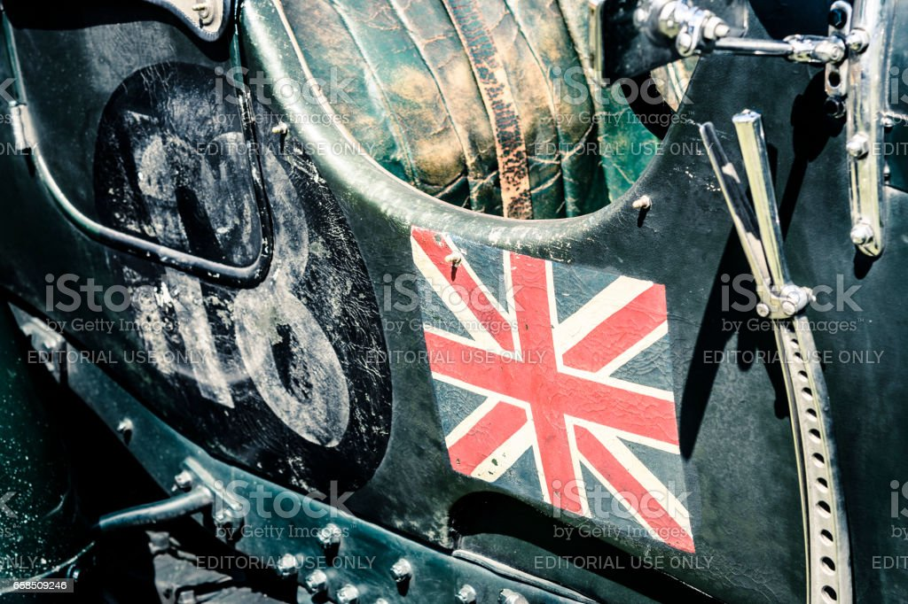 British Union Jack flag on a vintage Bentley classic car stock photo