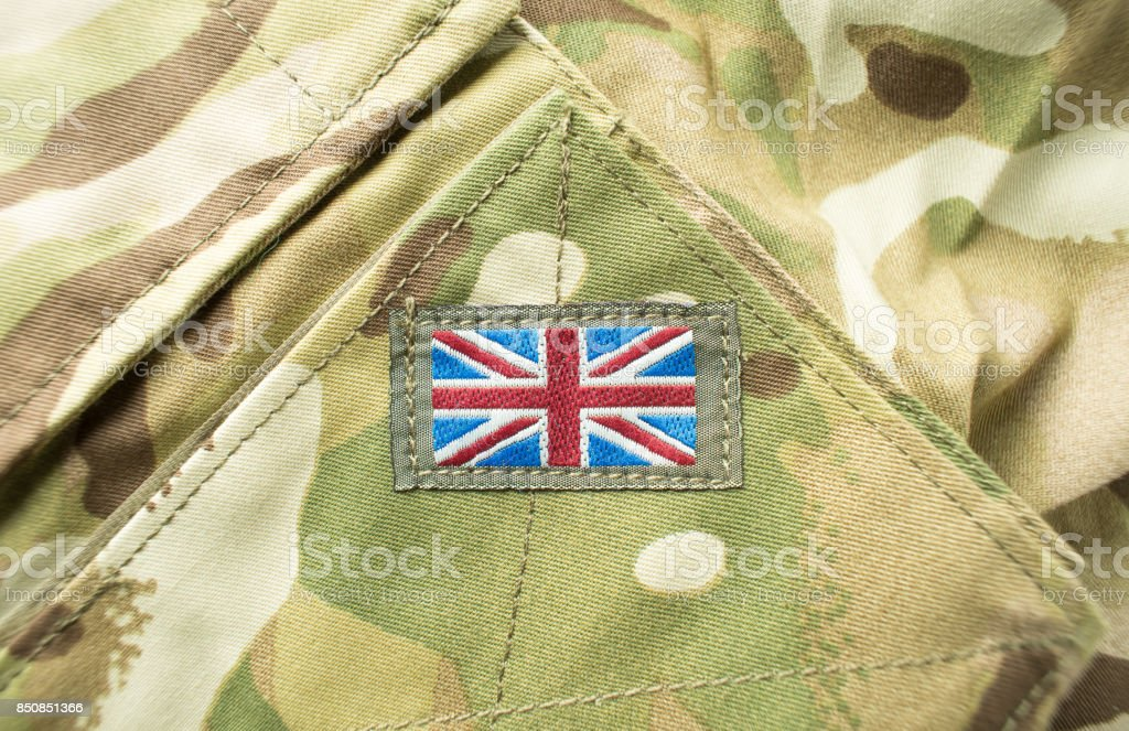British Union Jack flag on army uniform stock photo