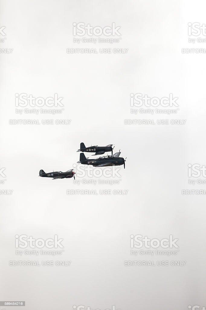 British warplanes flying over at Warbirds stock photo