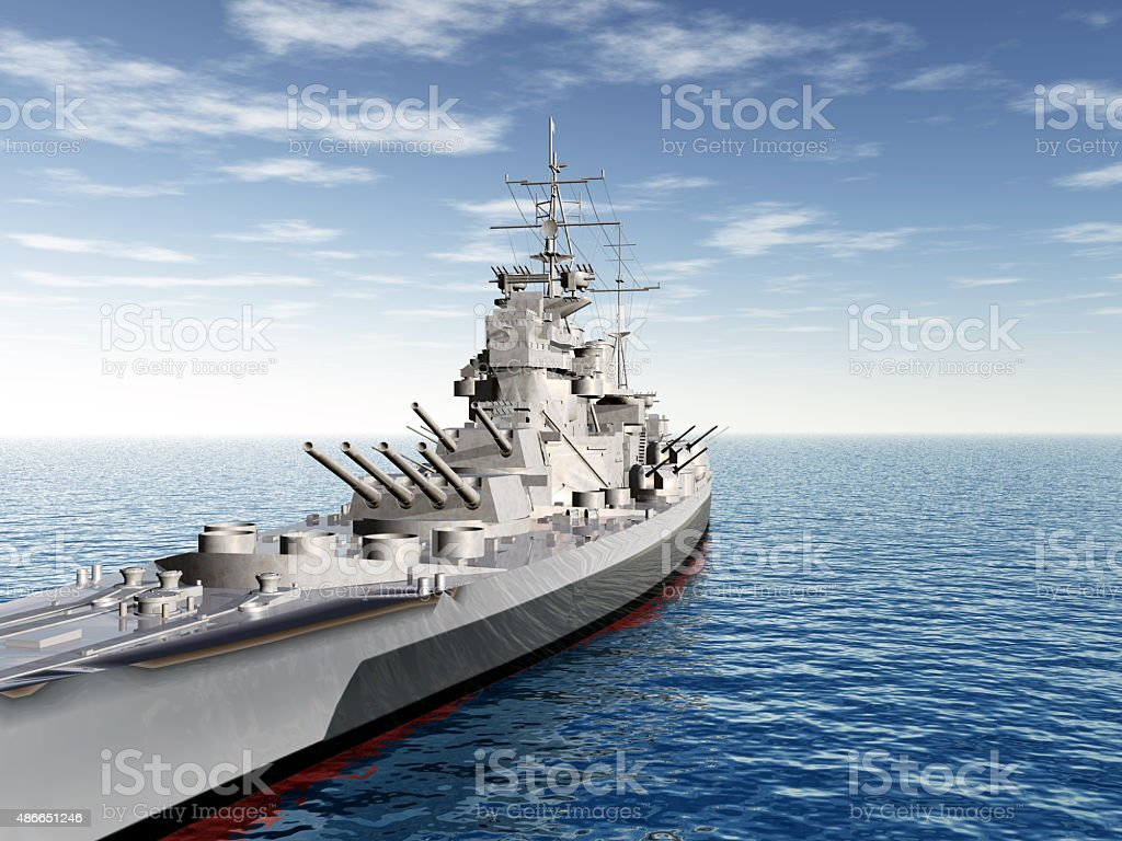 British warship of World War II stock photo