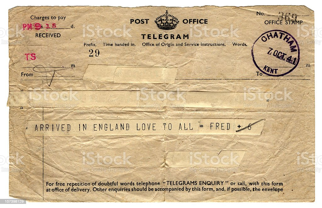 British wartime telegram - 1941 royalty-free stock photo