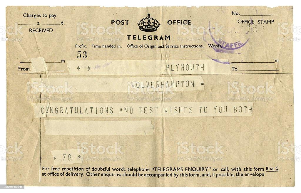 British wedding congratulations telegram, 1945 stock photo