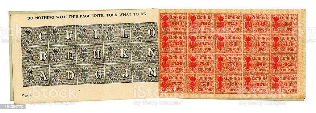 British World War Two clothing coupons pages stock photo