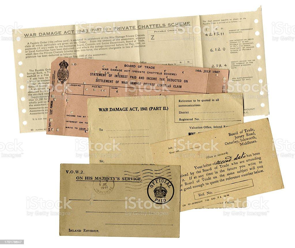 British WW2 war damage paperwork royalty-free stock photo