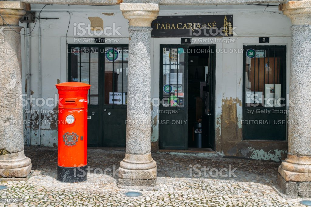 Britishstyle Postbox In Front Of A Tobacco Shop In Guarda