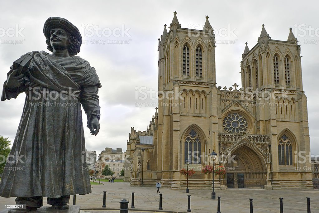 Britol's Medieval Cathedral and Ram Mohan Roy's Statue stock photo