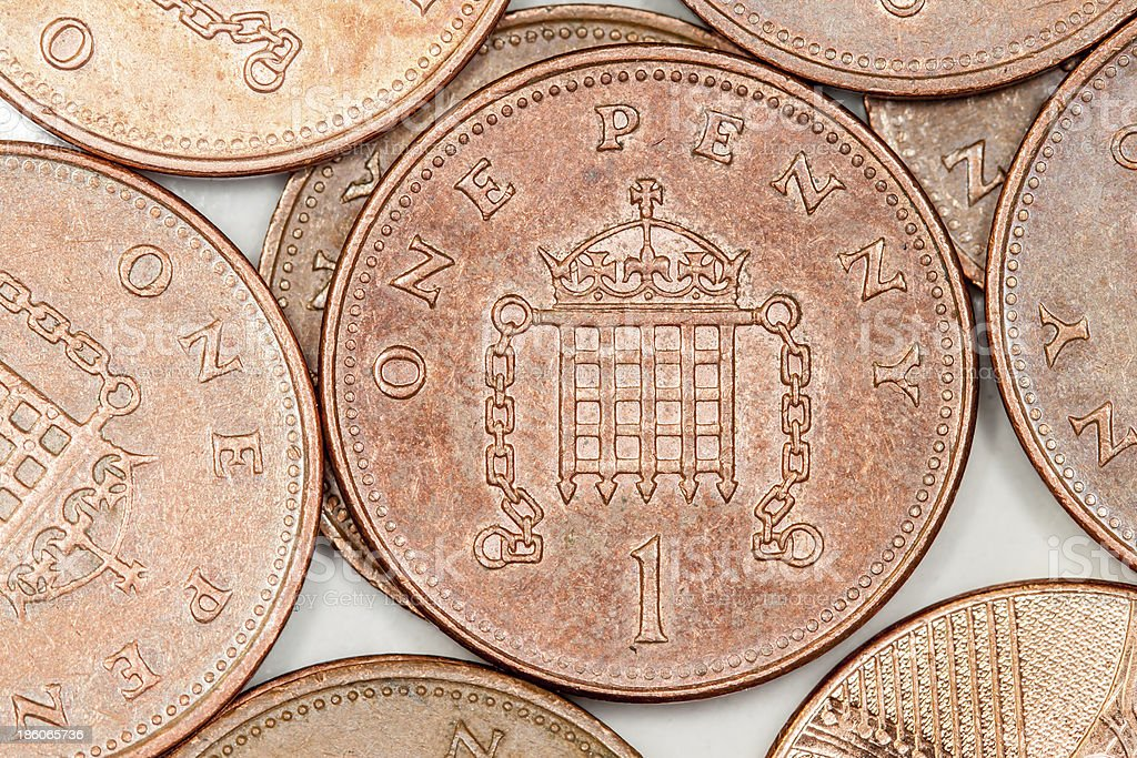 Britsh penny coins royalty-free stock photo