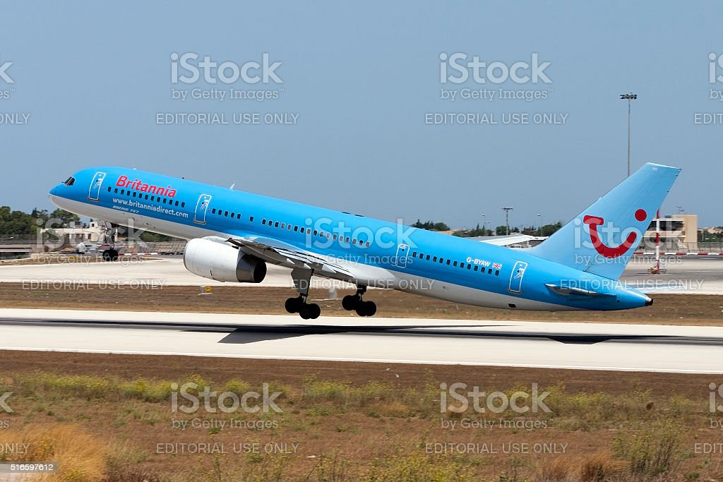 Brittania 757 taking off. stock photo