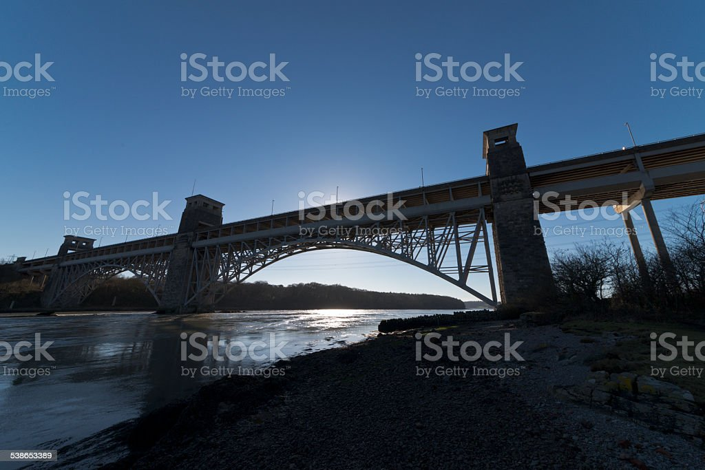 Brittania Bridge Anglesey stock photo