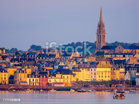 Sunrise view of Douarnenez town and harbor located in the Brittany area of France