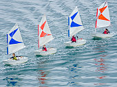The French region of Brittany on May 15, 2016: Sailing lessons in Douarnenez Bay in the Brittany area of France