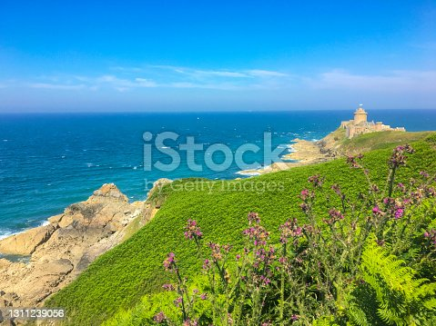 istock Brittany coast at Fort La Latte with a green coastline during summer in Brittany, France 1311239056