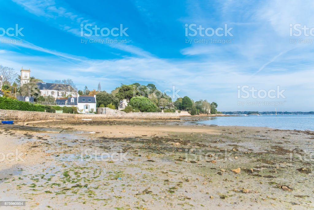 Brittany, Ile aux Moines island, beach stock photo