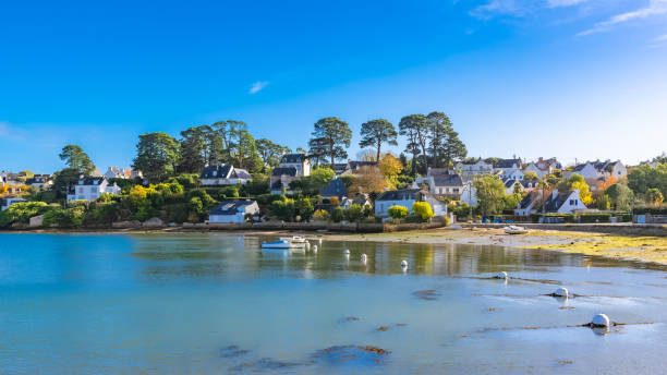Brittany, Ile aux Moines island Brittany, Ile aux Moines island in the Morbihan gulf, the typical harbor and village, low tide moor stock pictures, royalty-free photos & images