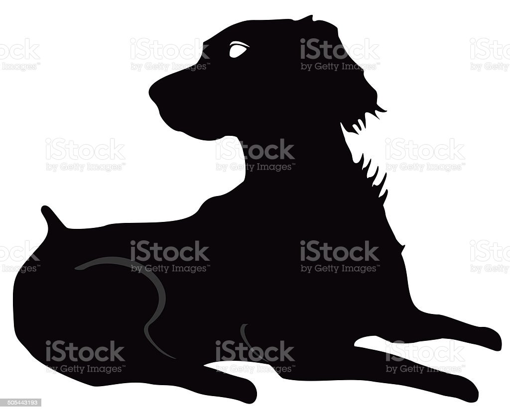 Brittany Spaniel Silhouette, at rest  looking to right in black royalty-free stock photo