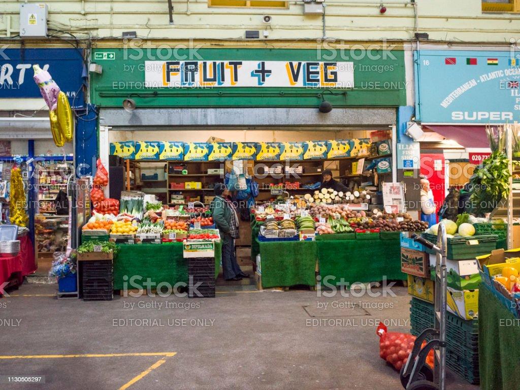 Brixton Market interior stock photo