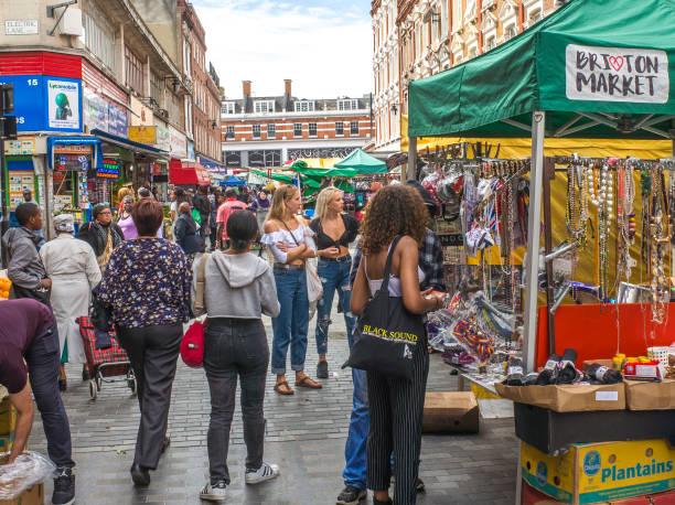 Mercado de Brixton, Londres - foto de stock