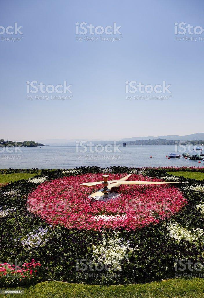 Bürkliplatz - Clockface with Flowers (XXL) stock photo
