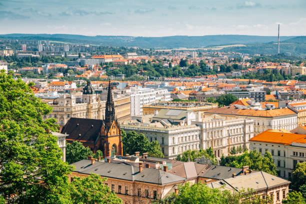 Brno city panorama view from Spilberk Castle in Brno, Czech Republic stock photo