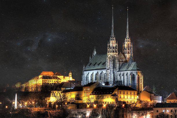 Brno city The icons of the city's ancient churches, castles and obelisk brno stock pictures, royalty-free photos & images