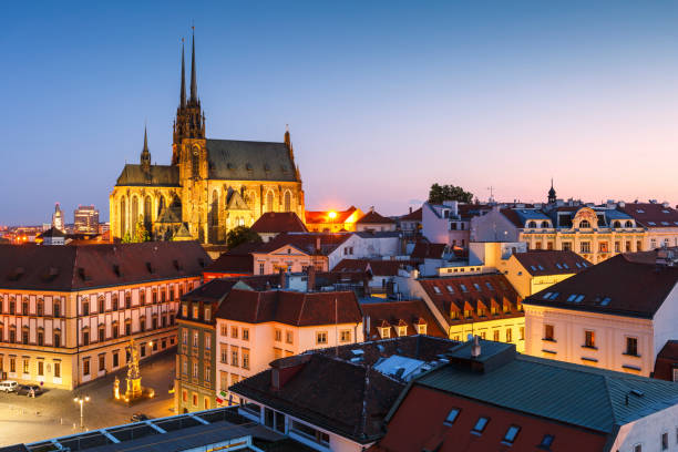 Brno city Brno, Czech Republic - August 23, 2017: View of the old town of Brno in Moravia including the cathedral from the tower of the old town hall. brno stock pictures, royalty-free photos & images