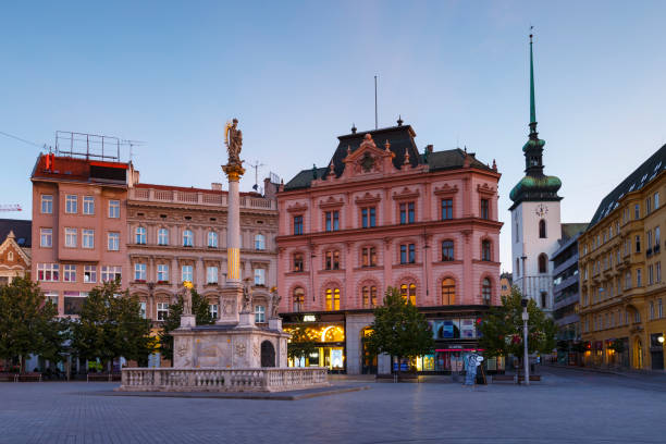 Brno city Brno, Czech Republic - August 24, 2017: Plague column in one of the squares in the old town of Brno in Moravia. brno stock pictures, royalty-free photos & images