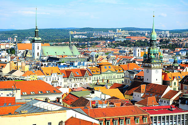 Brno cityscape Skyline of Brno city in the sunny day, Czech Republic brno stock pictures, royalty-free photos & images