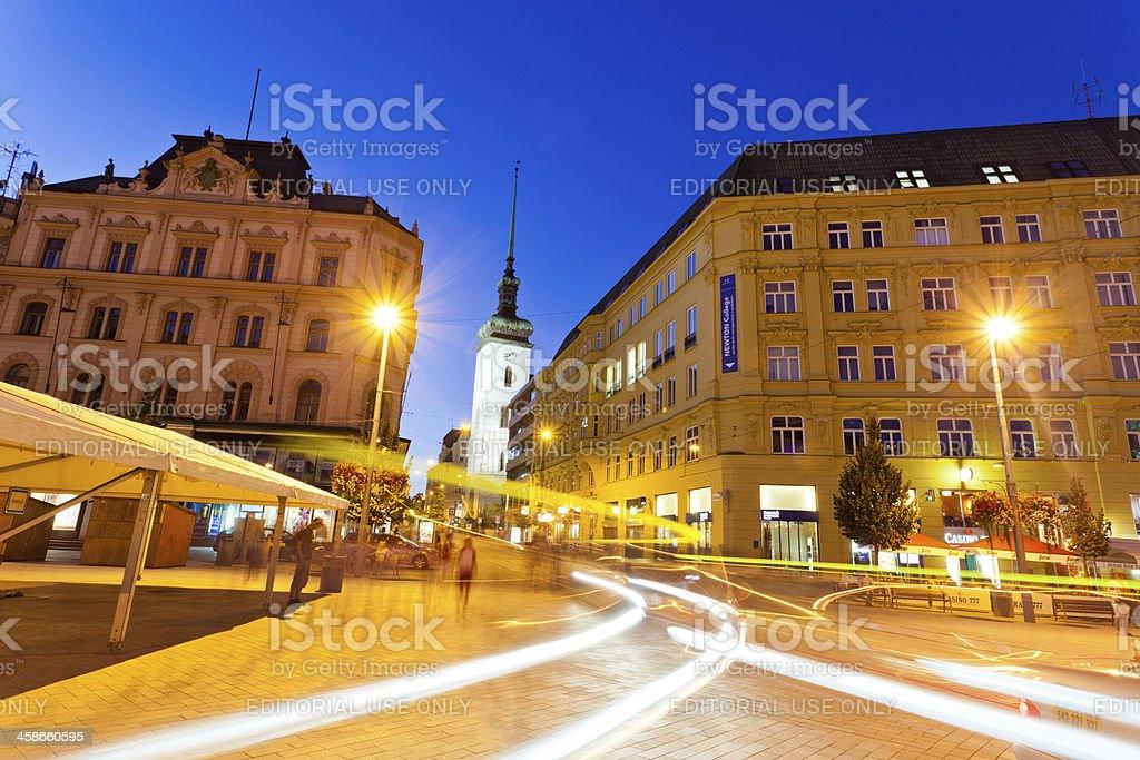 Brno Main Square by night stock photo