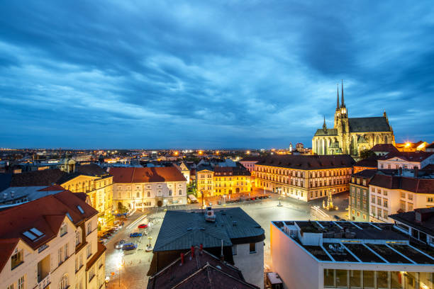 Brno night cityscape view, Czech republic Night cityscape view on the old town with famous cathedral in Brno city, Czech republic brno stock pictures, royalty-free photos & images